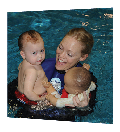 Instructor and two floating babies