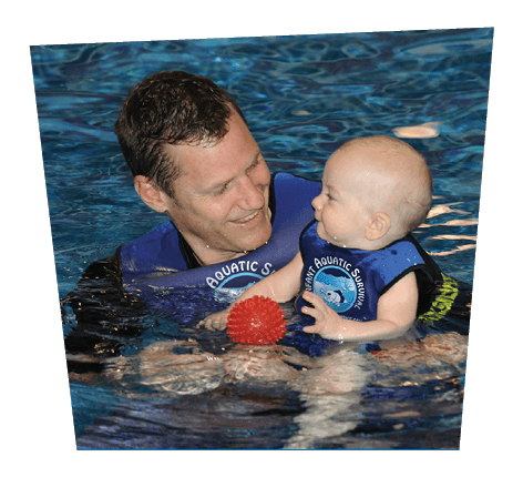 Male swim instructor with infant