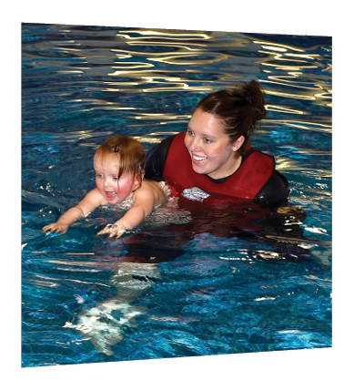 Instructor with swimming baby